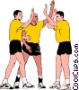 Vector Clip Art image  of a Soccer players celebrating
