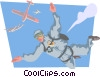 Vector Clip Art graphic  of a Skydiver free falling