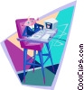 business baby at high-chair with computer Vector Clip Art image