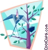 Vector Clip Art image  of a business out on a limb
