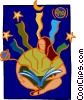 Vector Clipart graphic  of a reading from astronomy book
