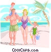 Vector Clip Art graphic  of a Family at beach
