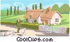 man walking sheep down road Vector Clipart image
