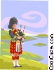 Vector Clip Art image  of a bag pipe player