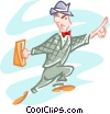 business man running, signaling Vector Clipart picture