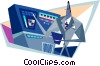 business man at computer monitoring station Vector Clipart picture
