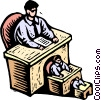 Vector Clipart graphic  of a men in decreasing sizes seated at desks