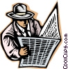 business man checking newspaper Vector Clipart graphic