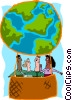 Vector Clipart graphic  of a business people in globe hot
