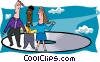 Vector Clip Art image  of a business people riding CD