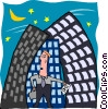 business man in city Vector Clip Art graphic