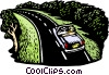 Couple driving down parkway Vector Clipart illustration