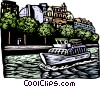 European boat cruise on canal Vector Clip Art image