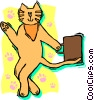 Vector Clipart graphic  of a business cat