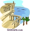 Vector Clip Art graphic  of a balcony view