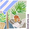 Backyard patio with plants and chair Vector Clipart picture