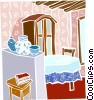 Vector Clipart graphic  of a dining room