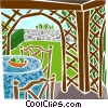 outdoor patio Vector Clipart illustration
