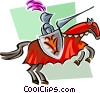 business/knight charging Vector Clipart graphic