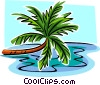 Vector Clipart illustration  of a leaning palm tree