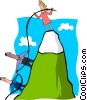 business climbing a mountainside Vector Clipart illustration