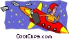 Vector Clip Art picture  of a business woman in rocket ship