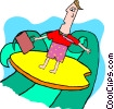 business man on surfboard Vector Clipart picture