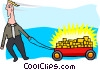 business man with wagon full of gold Vector Clipart illustration