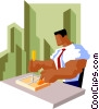 business man setting trap Vector Clip Art graphic