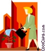 Vector Clipart image  of a business woman watering