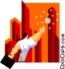 Vector Clip Art graphic  of a business man reaching for the