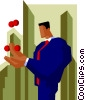 Vector Clip Art image  of a business man juggling
