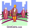Vector Clip Art graphic  of a business field of people