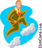 Vector Clipart graphic  of a business cloud climbing