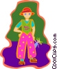 Vector Clip Art graphic  of a child with doll