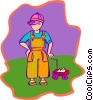 child with wagon Vector Clipart image