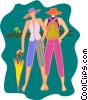 Vector Clipart picture  of a people in summer clothes