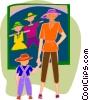 Vector Clip Art image  of a mother and child looking at clothing store
