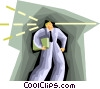 Vector Clip Art image  of a business man gazing