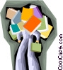 Vector Clipart graphic  of a business man swamped in books