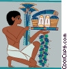 Egyptian man presenting food Vector Clip Art picture