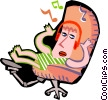 person listening to music in headphones Vector Clip Art picture