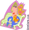 Vector Clip Art image  of a man on bench with birds