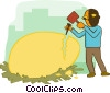 Vector Clipart illustration  of a business cracking egg