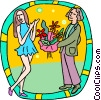 Vector Clipart image  of a Bringing his date flowers