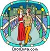 couple walking over a bridge Vector Clipart picture