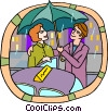 Vector Clip Art graphic  of a holding umbrella for date