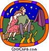 Vector Clipart graphic  of a Couple by bonfire