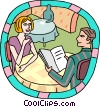 Couple at restaurant Vector Clipart picture