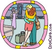 Vector Clipart picture  of a Farewell hug at train station